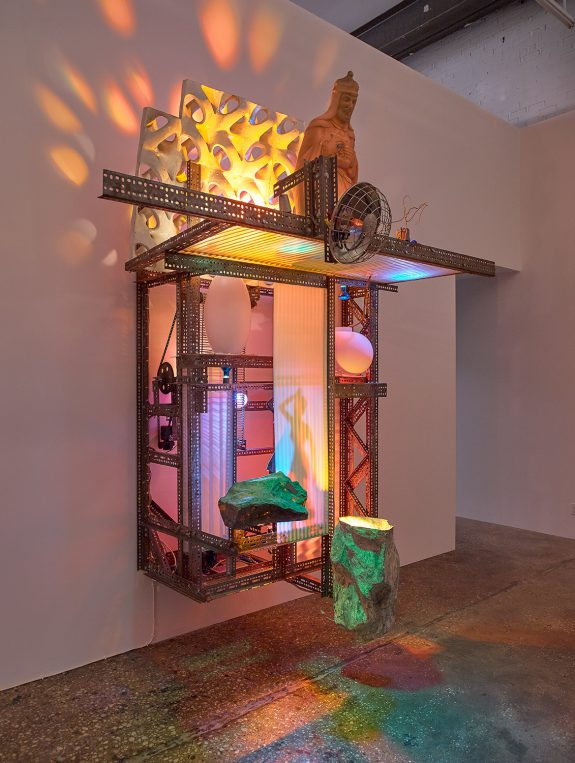 Large mechanical sculptures and video in gallery