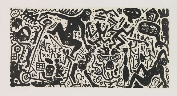 Large black and white painting of figures