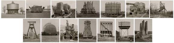 Black and white photographs of industrial water towers