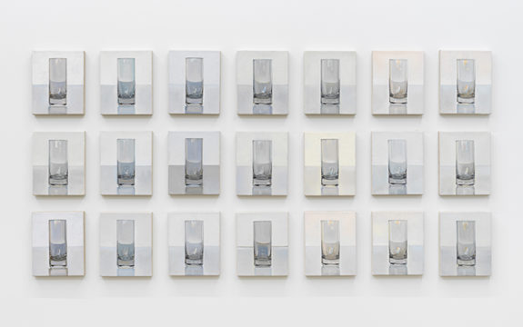 Series of paintings of empty water glasses