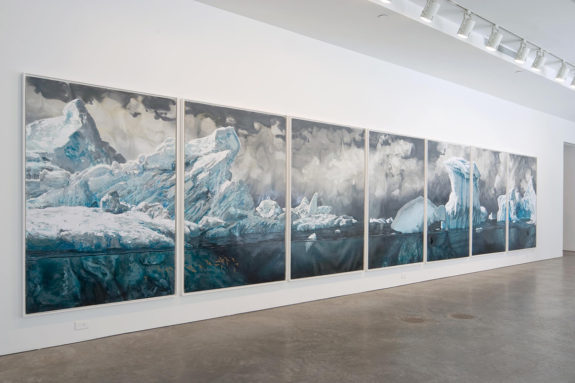 seven panel paintings of the ocean