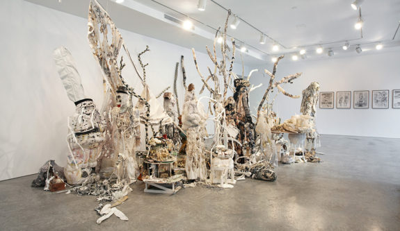 large textural sculpture in gallery
