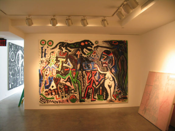 Large figurative painting in gallery