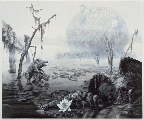Black and white painting of destroyed landscape and disco ball