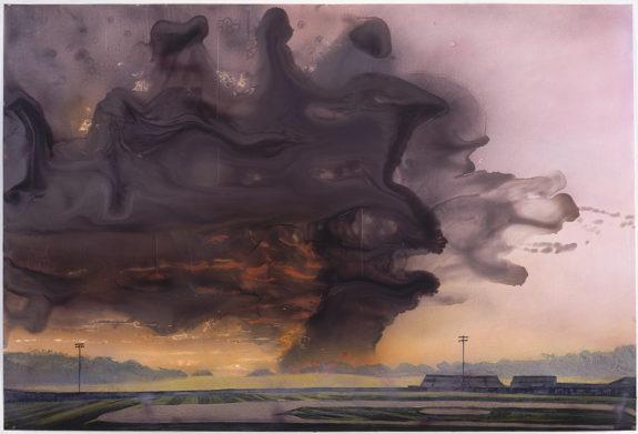 Painting of black smoke in sky