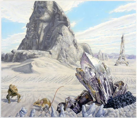 Painting of snowscape and crystals
