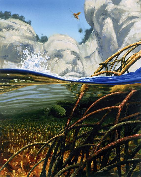 Painting of underwater scene