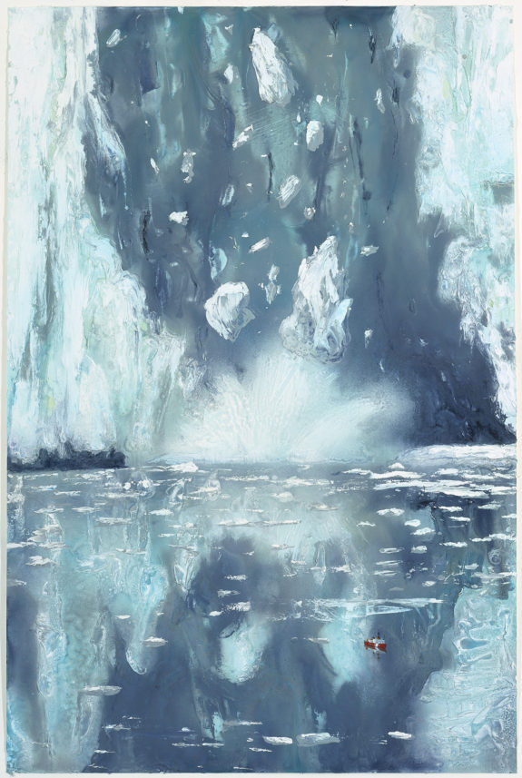 Painting of melting icebergs and reflection
