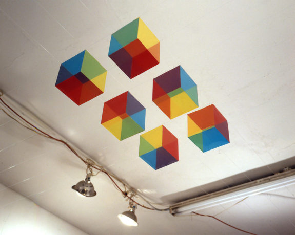 geometric sculpture on the ceiling
