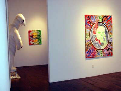 Paintings and sculpture in gallery