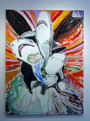 Painting of two sharks in abstract field
