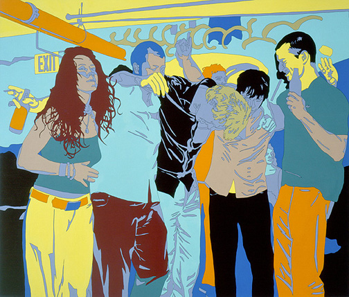 Surreal painting of people at a party
