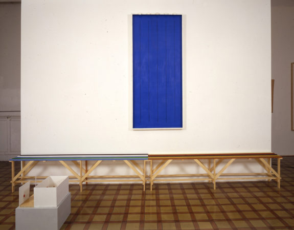 Blue painting on wall