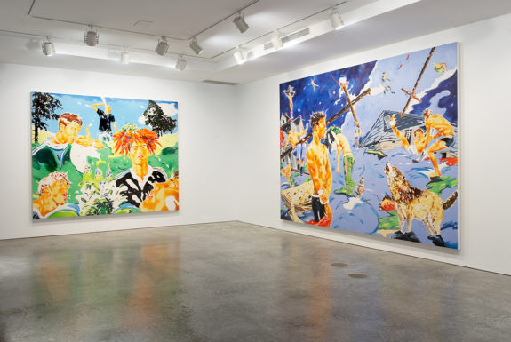 Two large paintings in gallery space