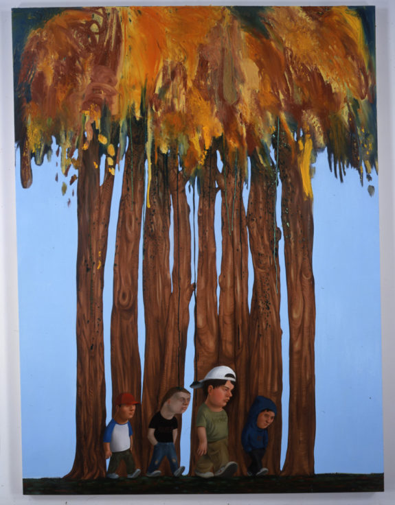 painting of four kids in front of trees
