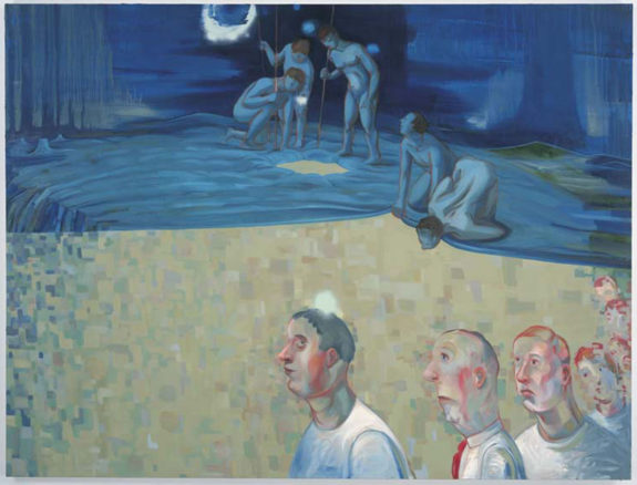 painting of men in the foreground and women in the background by water, blue color palette