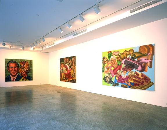 Cartoon-like figurative paintings in gallery