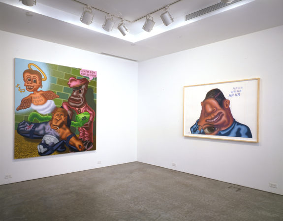 Cartoon-like figurative paintings in gallery