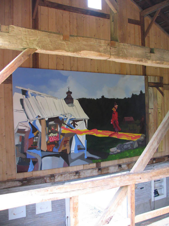 painting inside barn