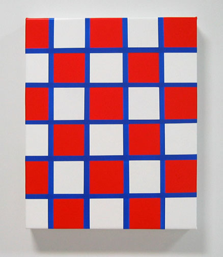 Painting of red and white checker pattern