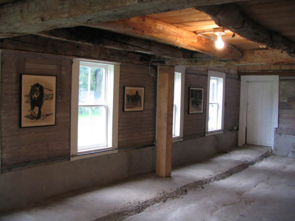 paintings inside barn