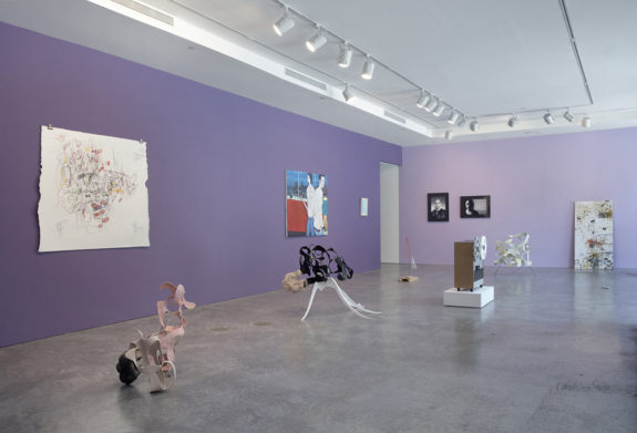 Small abstract sculptures in purple gallery