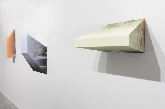 geometric wall sculptures in gallery