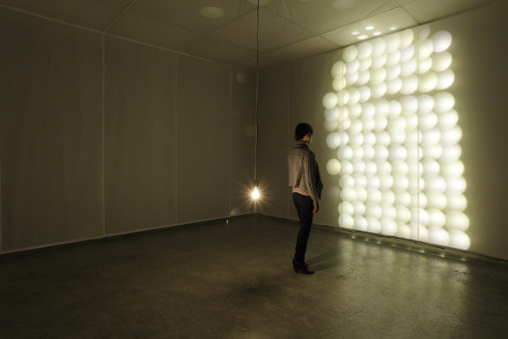 light installation in gallery