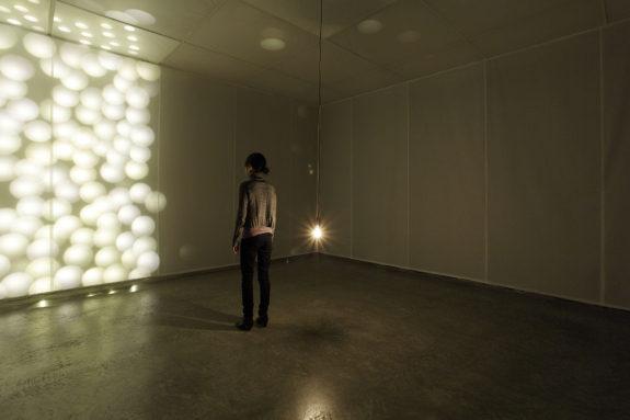 light installation in gallery