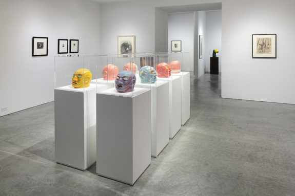 paintings and sculptures in gallery
