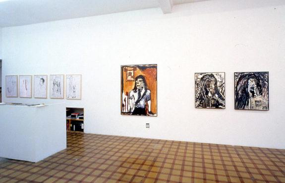 Paintings of figures in gallery