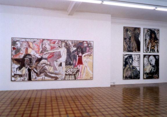 Large dark paintings of figures in gallery
