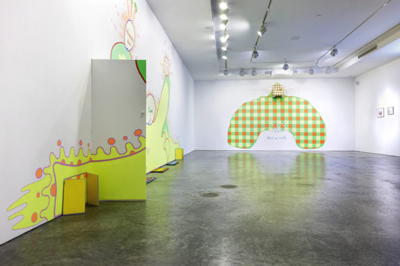 large wall installation in a gallery