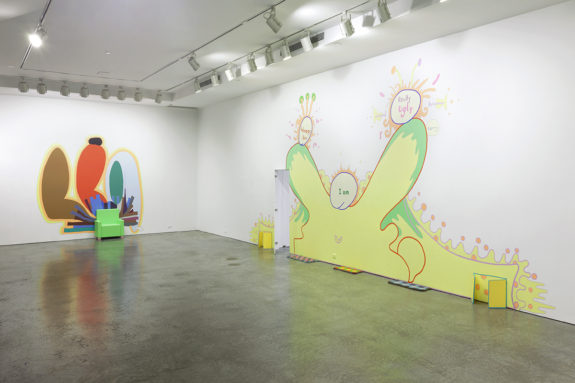 large wall installations in a gallery
