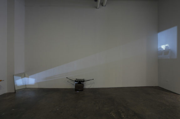 projector projecting a video in a gallery