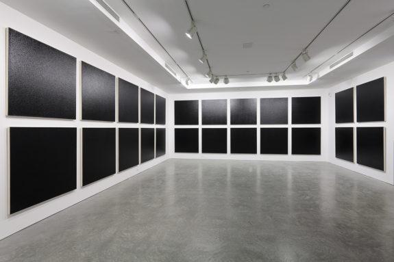 black paintings in a galleryv