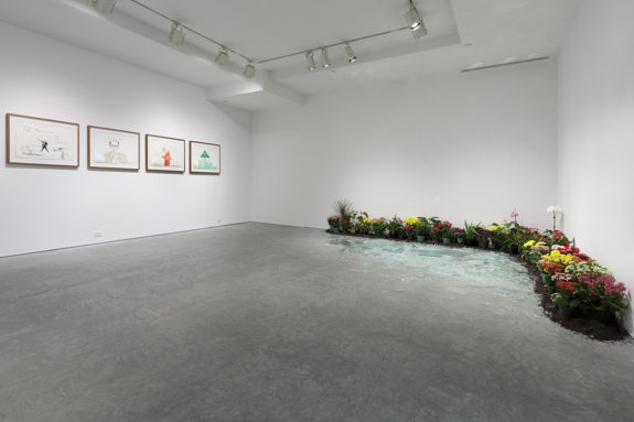 paintings in a gallery and installation