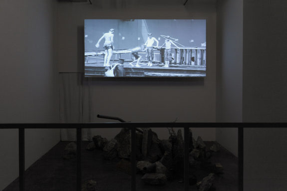 installation in dim lit gallery