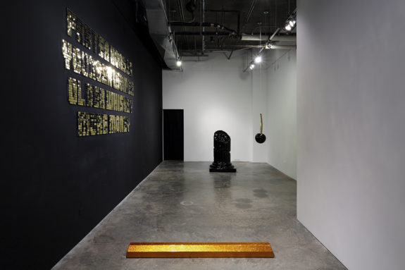 sculptures in a gallery